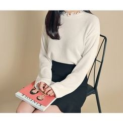HOTPING - Frilled-Trim Knit Top