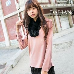 OrangeBear - Long-Sleeve Ribbon-Print Chiffon Top