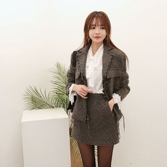 DABAGIRL - Frayed-Edge Wool Blend Tweed Jacket