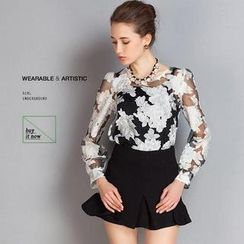 SEYLOS - Set: Long-Sleeve Floral Top + Frill Hem Skirt