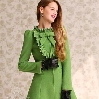 Dabuwawa - Wool-Blend Bow-Accent Ruffled Buttoned Coat