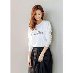 J-ANN - Round-Neck Lettering T-Shirt