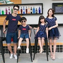Azure - Family Matching Dotted Short Sleeve Tulle Dress / T-Shirt