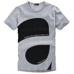 Seoul Homme - Round-Neck Short-Sleeve Printed T-Shirt