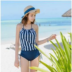 Blue Lagoon - Pinstriped Halter Swimsuit