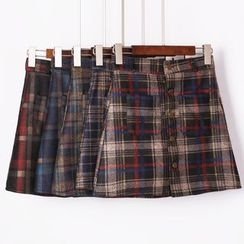 City of Dawn - Plaid Buttoned A-Line Skirt