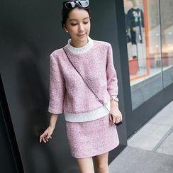 Ringnor - Set: 3/4-Sleeve Tweed Top + Skirt