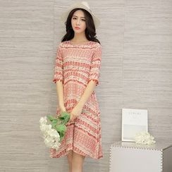 Diosa - Patterned Pompom Trim Elbow Sleeve Dress