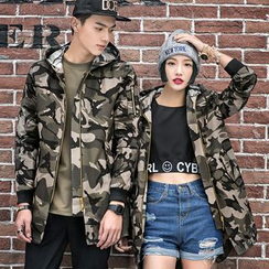 Evolu Fashion - Couple Matching Camouflage Hooded Jacket