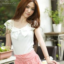 Tokyo Fashion - Lace Panel Bow-Accent Top