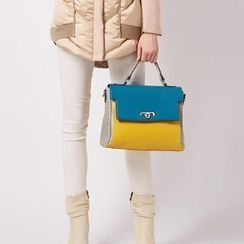 O.SA - Faux-Leather Color-Block Flap Satchel