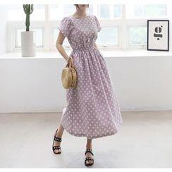 Miamasvin - Short-Sleeve Gathered-Waist Polka-Dot Long Dress