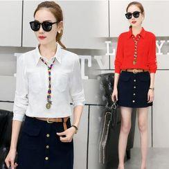 Mandalle - Set: Plain Pocketed Shirt + Button Down A-Line Skirt