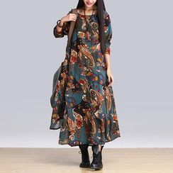 Yeeya - Paisley Patterned Layered Long Sleeve Maxi Dress