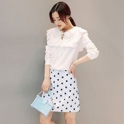 Mandalle - Set: Frill Trim Long Sleeve Blouse + Dotted A-Line Skirt