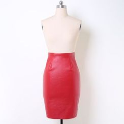 V-MAY - Faux-Leather Pencil Skirt