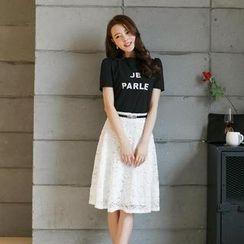 Porta - Set: Print Top + Lace A-line Skirt