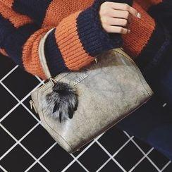 Secret Garden - Faux Leather Tote with Pom Pom Charm
