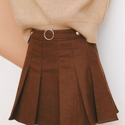 SUYISODA - Round Buckle Pleated A-Line Skirt