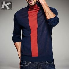 Quincy King - Long-Sleeve Color Block Knit Pullover