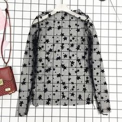 About a Girl - Set: Star Print Long Sleeve Mesh Top + Camisole Top