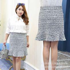 Inopine - Tweed Ruffle Hem Skirt