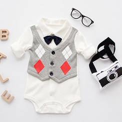 MOM Kiss - Baby Argyle Bodysuit