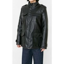 Someday, if - Epaulet Multi-Pocket Faux-Leather Jacket