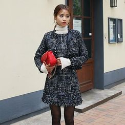 DABAGIRL - Set: Fringed Tweed Jacket + Sleeveless Min Dress
