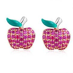 MBLife.com - Left Right Accessory - 925 Sterling Silver CZ Apple Fruit Stud Earrings, Women Girl Fashion Jewelry