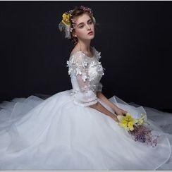 MSSBridal - Elbow Sleeve Wedding Ball Gown