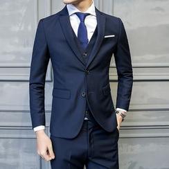 百高 - 套裝: 純色西裝外套 + 馬甲 + 褲