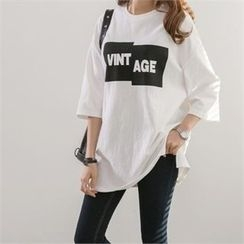 PEPER - Elbow-Sleeve Lettering T-Shirt