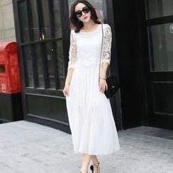 lilygirl - Lace Panel Chiffon Dress