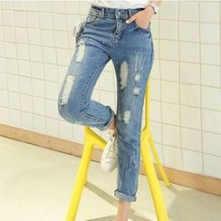Athena - Cropped Distressed Skinny Jeans