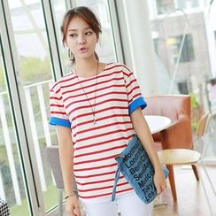 CLICK - Cuff-Sleeve Stripe T-Shirt