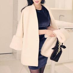 Seoul Fashion - Faux-Fur Cuff Wool Blend Coat