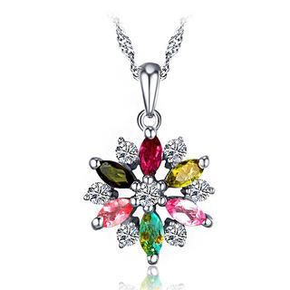 BELEC - White Gold Plated 925 Sterling Silver Flower Pendant with Colorful Tourmaline and 45cm Necklace