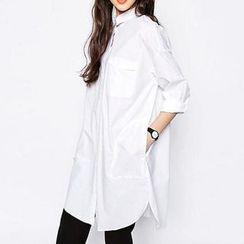 Chicsense - Long-Sleeve Loose-Fit Long Shirt