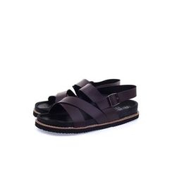 Ohkkage - Faux-Leather Strap Sandals