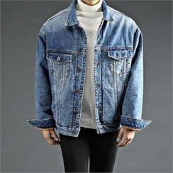THE COVER - Fleece-Lined Washed Denim Jacket