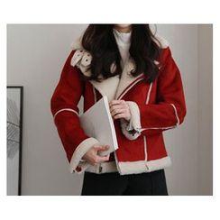 demavie - Diagonal-Zip Fleece-Lined Biker Jacket
