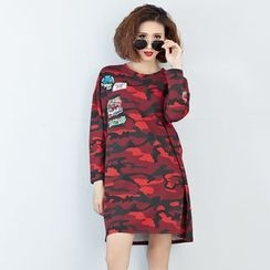 Carabecca - Patch Embroidered Camo Long Sleeve T-Shirt Dress