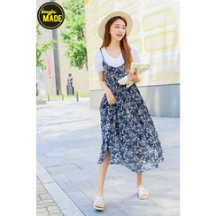 BONGJA SHOP - Floral Patterned Sleeveless A-Line Dress