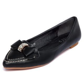 yeswalker - Jeweled Bow Pointy-Toe Flats