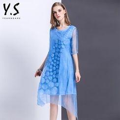 Y:Q - 中袖不對稱直筒連衣裙