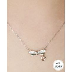 Miss21 Korea - Heart Bow Pendant Silver Chain Necklace
