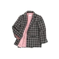 ssongbyssong - Single-Breasted Checked Wool Blend Jacket
