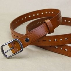 Heehaw - Perforated Genuine Leather Skinny Belt
