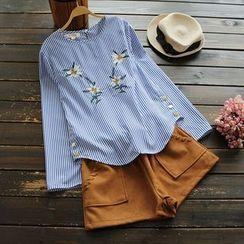 YOYO - 飾鈕扣刺繡條紋襯衫